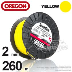 Fil Orégon Yellow rond jaune. 2 mm x 260 m pour débroussailleuse