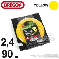 Fil Orégon Yellow rond jaune. 2,4 mm x 90 m pour débroussailleuse
