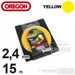 Fil Orégon Yellow rond jaune. 2,4 mm x 15 m pour débroussailleuse