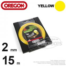Fil Orégon Yellow rond jaune. 2 mm x 15 m pour débroussailleuse