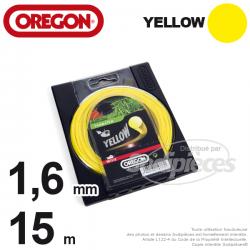 Fil Orégon Yellow rond jaune. 1,6 mm x 15 m pour débroussailleuse