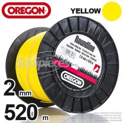 Fil Orégon Yellow rond jaune. 2 mm x 520 m pour débroussailleuse