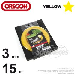 Fil Orégon Yellow étoilé jaune. 3 mm x 15 m pour débroussailleuse
