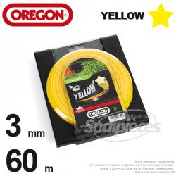 Fil Orégon Yellow étoilé jaune. 3 mm x 60 m pour débroussailleuse