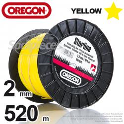 Fil Orégon Yellow étoilé jaune. 2 mm x 520 m pour débroussailleuse