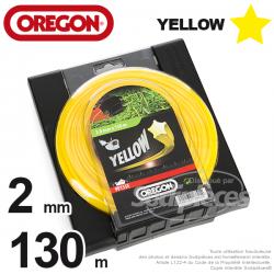 Fil Orégon Yellow étoilé jaune. 2 mm x 130 m pour débroussailleuse