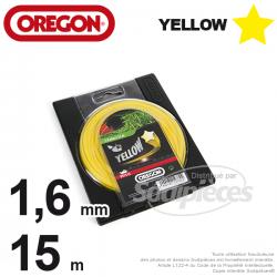 Fil Orégon Yellow étoilé jaune. 1,6 mm x 15 m pour débroussailleuse