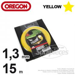 Fil Orégon Yellow étoilé jaune. 1,3 mm x 15 m pour débroussailleuse