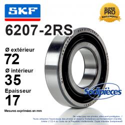 Roulement à billes 6207-2RS SKF. Double étanchéité