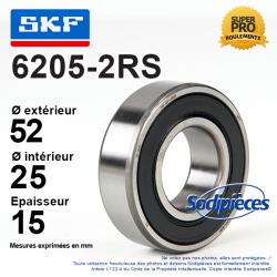 Roulement à billes 6205-2RS SKF. Double étanchéité