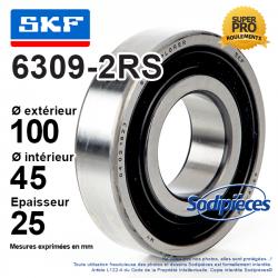 Roulement à billes 6309-2RS SKF. Double étanchéité