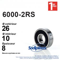 Roulement à billes 6000-2RS 1er Prix. Double étanchéité