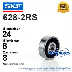 Roulement à billes 628-2RS SKF. Double étanchéité