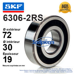 Roulement à billes 6306-2RS SKF. Double étanchéité