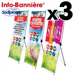 3 Info-Bannières® événement. magasin 80 x 200 cm
