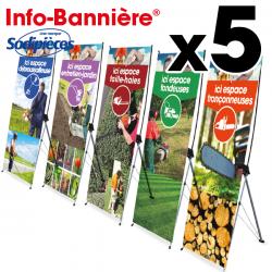 5 Info-Bannières® signalétique magasin 80 x 200 cm