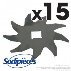 Couteaux scarificateurs pour Sabo SA16495, 16495. Jeu de 15