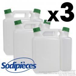 Bidons double contenance X 3. 1,5 + 3,8 L . -35% de remise !