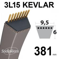 Courroie tondeuse 3L150 Kevlar Trapézoïdale. 9,5 mm x 381 mm.