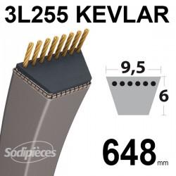 Courroie tondeuse 3L255 Kevlar Trapézoïdale. 9,5 mm x 648 mm.