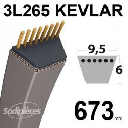 Courroie tondeuse 3L265 Kevlar Trapézoïdale. 9,5 mm x 673 mm.