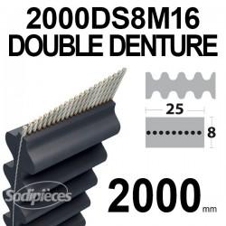 Courroie tondeuse double denture 2000DS8M16. 16 mm x 2000 mm