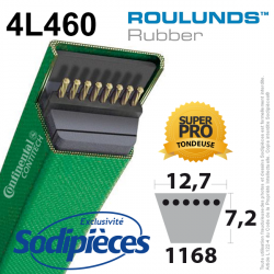 Courroie tondeuse 4L460 Roulunds Continental  12,7  x 7,2 x 1168 mm