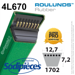 Courroie tondeuse 4L670 Roulunds Continental  12,7  x 7,2 x 1702 mm
