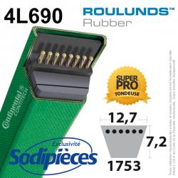 Courroie tondeuse 4L690 Roulunds Continental. 12.7 x 9 L. 1753 mm