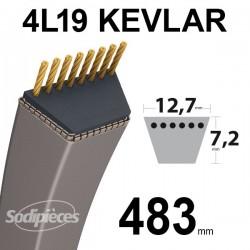 Courroie 4L19 Kevlar Trapézoïdale. 12,7 mm x 483 mm.