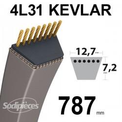 Courroie 4L31 Kevlar Trapézoïdale. 12,7 mm x 787 mm.