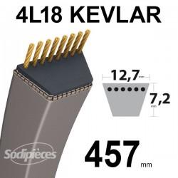 Courroie 4L18 Kevlar Trapézoïdale. 12,7 mm x 457 mm.