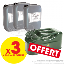 3 bidons huile de chaîne ISO 150 / 20 L + Un bidon métal vert 5 litres OFFERT