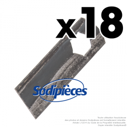 Couteaux scarificateurs pour MTD n° origine 742-0825A. Jeu de 18