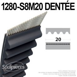 Courroie tondeuse 1280-S8M20  simple denture n° 9585-0071-00, 9585-0072-00, 9585-0095-01, 1134-9030-01, 1134-9031-00