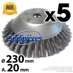 Brosse conique Pro pour désherbage Ø 230 mm, Al 20 mm. Par 5