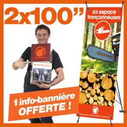 """2 chaînes Kerwood 100"""". 1 info-bannière """"Espace tronçonneuse"""" Offerte !"""