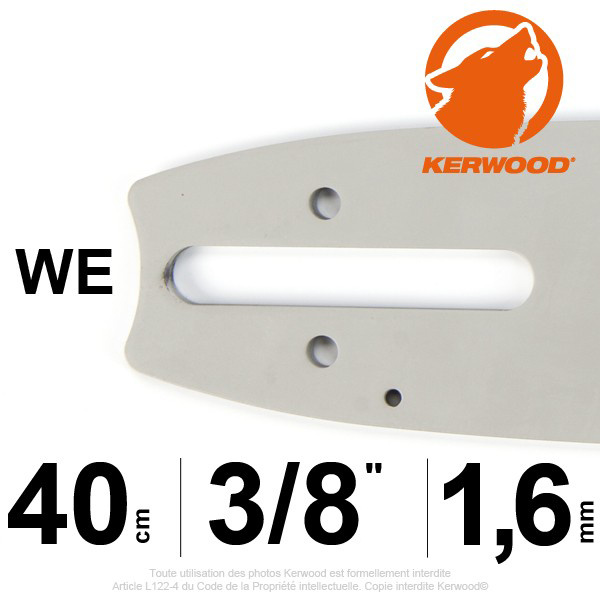 "Guide KERWOOD . 40cm 3/8"". 1.6 mm. 16A4KLWE"