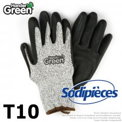 Gants anti-coupure Handergreen. Gris/noir. Taille 10