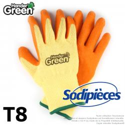 Gants haute qualité Handergreen. Jaune/orange. Taille 8