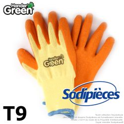 Gants haute qualité Handergreen. Jaune/orange. Taille 9