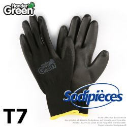 Gants polyester Handergreen. Noir. Taille 7