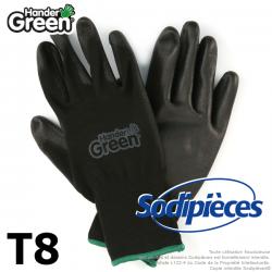 Gants polyester Handergreen. Noir. Taille 8