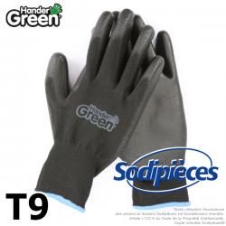 Gants polyester Handergreen. Noir. Taille 9