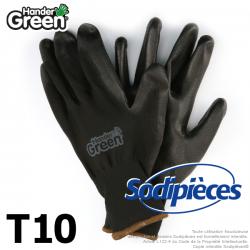 Gants polyester Handergreen. Noir. Taille 10