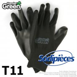 Gants polyester Handergreen. Noir. Taille 11