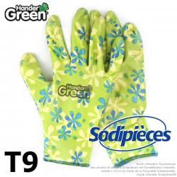 Gants imprimés Handergreen. Vert/transparent. Taille 9