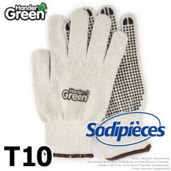 Gants anti-dérapant Handergreen. Blanc/noir. Taille 10