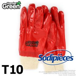 Gants finition lisse Handergreen. Blanc/rouge. Taille 10