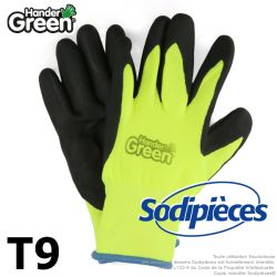 Gants double protection Handergreen. Fluo/noir. Taille 9